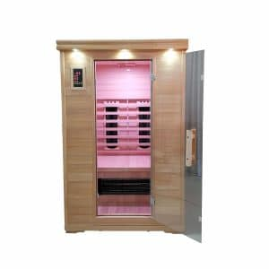 Front view of two person infrared sauna