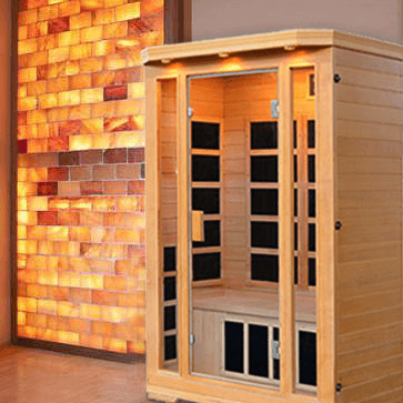 custom salt wall panel with sauna